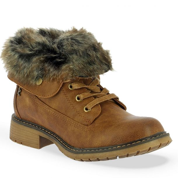 Women's Faux Fur Biker Ankle Boots  Refresh 64665