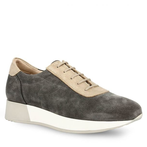 Women's Suede Leather Lace-up Sneakers Parex