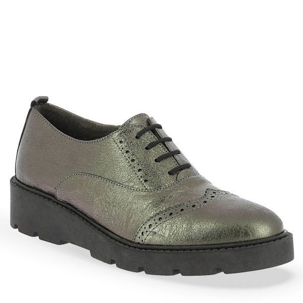 Women's Metallic Leather Lace-up Oxfords Parex