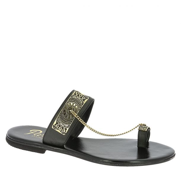 Women's Leather Sandals with Chains Parex
