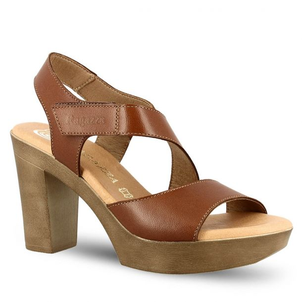 Women's Leather Heeled Sandals Ragazza 0336