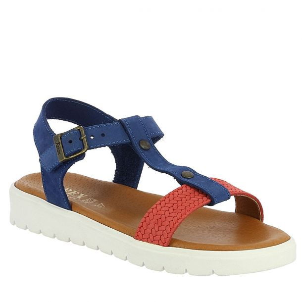 Women's Leather Sandals with Ankle Strap