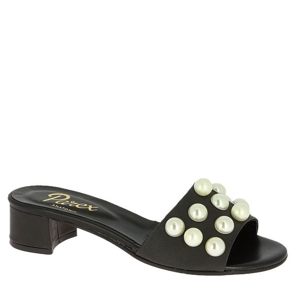 Women's Leather Mules with Pearls Parex